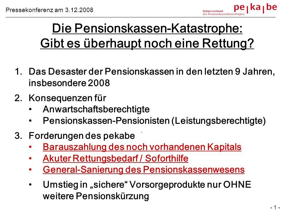 Die Pensionskassen-Katastrophe: Gibt es überhaupt noch eine Rettung? 1.Das Desaster der Pensionskassen in den letzten 9 Jahren, insbesondere 2008 2.Ko