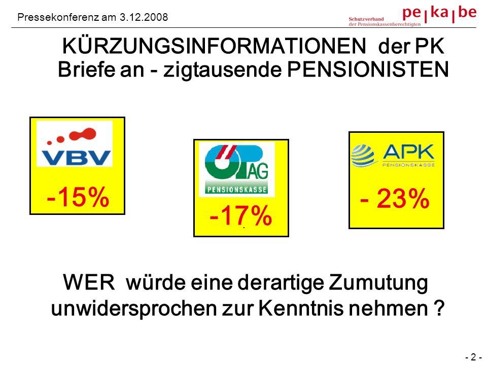 KÜRZUNGSINFORMATIONEN der PK Briefe an - zigtausende PENSIONISTEN. Pressekonferenz am 3.12.2008 - 2 - -15% -17% - 23% WER würde eine derartige Zumutun