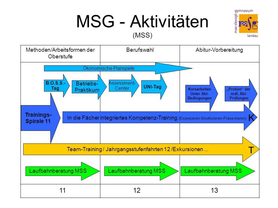 MSG - Aktivitäten (MSS) Laufbahnberatung MSS Team-Training / Jahrgangsstufenfahrten 12 /Exkursionen...