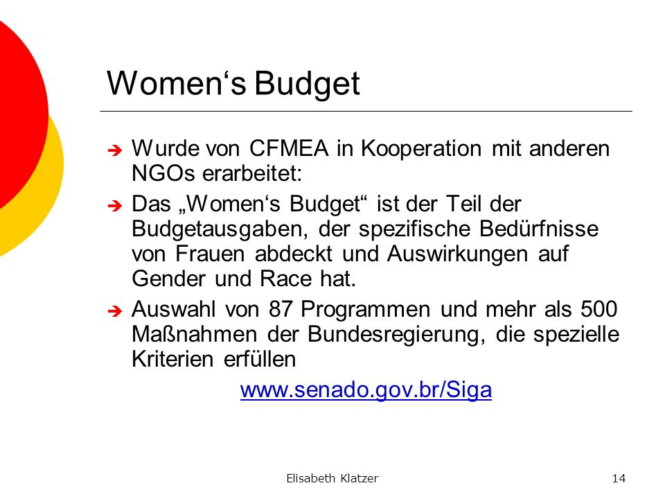 Elisabeth Klatzer14 Womens Budget Wurde von CFMEA in Kooperation mit anderen NGOs erarbeitet: Das Womens Budget ist der Teil der Budgetausgaben, der s