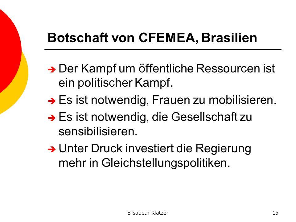 Elisabeth Klatzer15 Botschaft von CFEMEA, Brasilien Der Kampf um öffentliche Ressourcen ist ein politischer Kampf. Es ist notwendig, Frauen zu mobilis