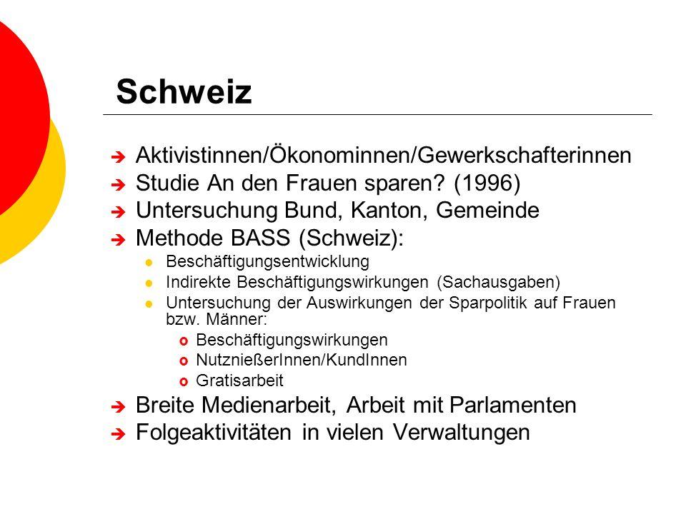 Schweiz Aktivistinnen/Ökonominnen/Gewerkschafterinnen Studie An den Frauen sparen? (1996) Untersuchung Bund, Kanton, Gemeinde Methode BASS (Schweiz):