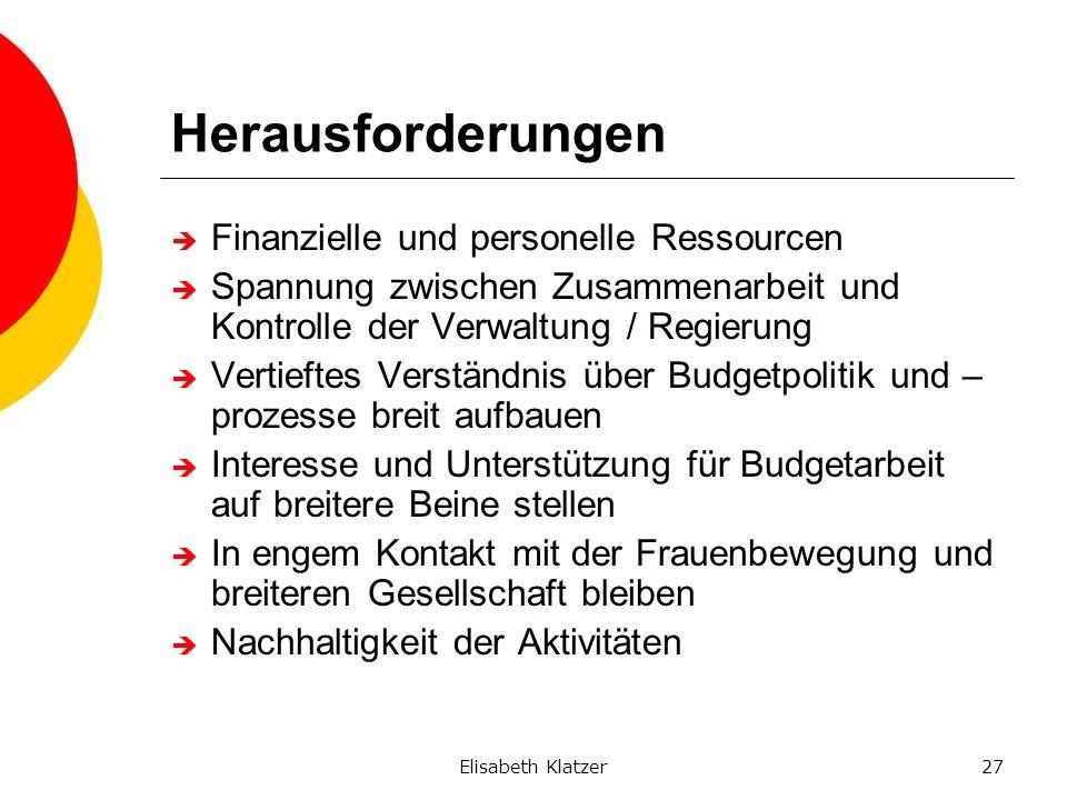 Elisabeth Klatzer27 Herausforderungen Finanzielle und personelle Ressourcen Spannung zwischen Zusammenarbeit und Kontrolle der Verwaltung / Regierung