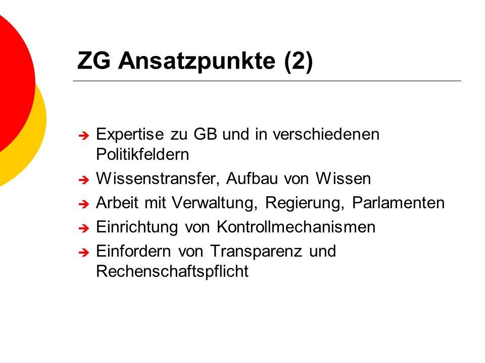 ZG Ansatzpunkte (2) Expertise zu GB und in verschiedenen Politikfeldern Wissenstransfer, Aufbau von Wissen Arbeit mit Verwaltung, Regierung, Parlament