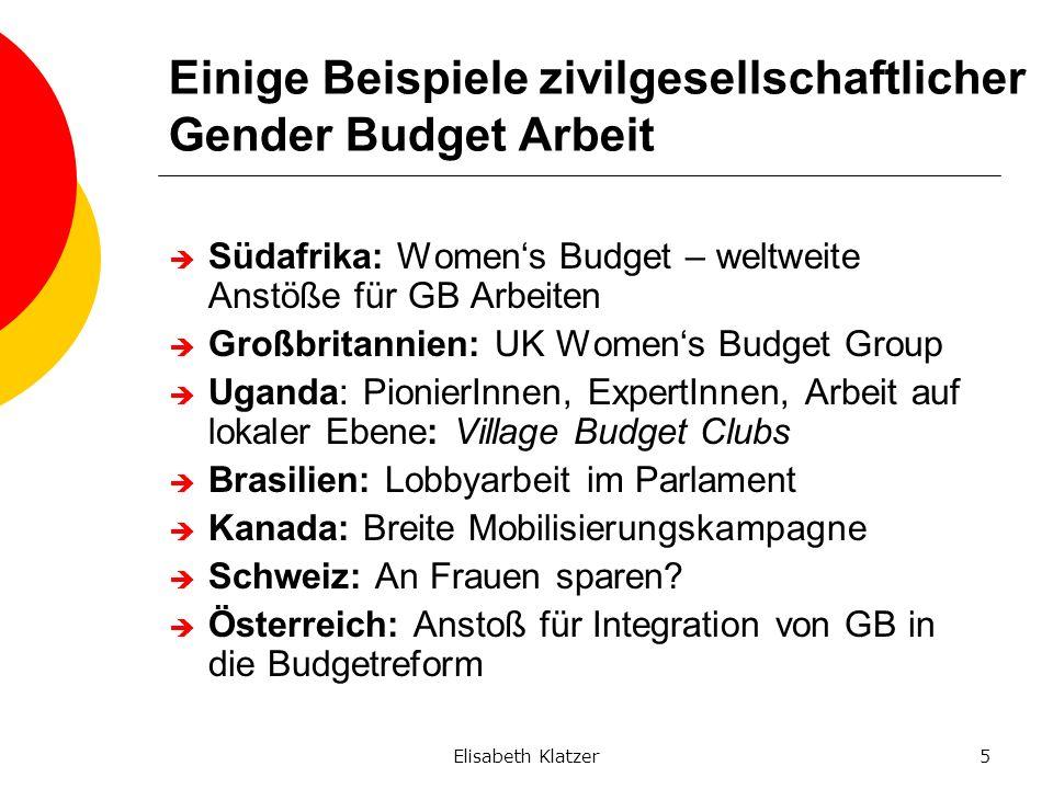 Elisabeth Klatzer5 Einige Beispiele zivilgesellschaftlicher Gender Budget Arbeit Südafrika: Womens Budget – weltweite Anstöße für GB Arbeiten Großbrit