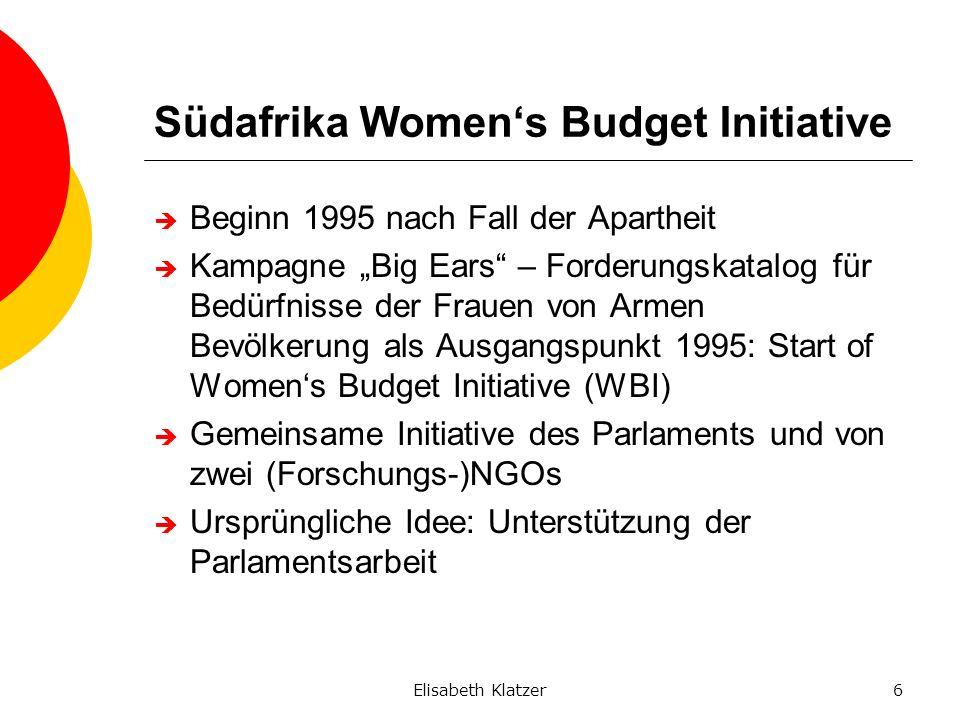 Elisabeth Klatzer6 Südafrika Womens Budget Initiative Beginn 1995 nach Fall der Apartheit Kampagne Big Ears – Forderungskatalog für Bedürfnisse der Fr