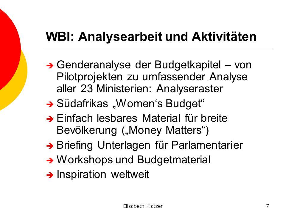 Elisabeth Klatzer7 WBI: Analysearbeit und Aktivitäten Genderanalyse der Budgetkapitel – von Pilotprojekten zu umfassender Analyse aller 23 Ministerien