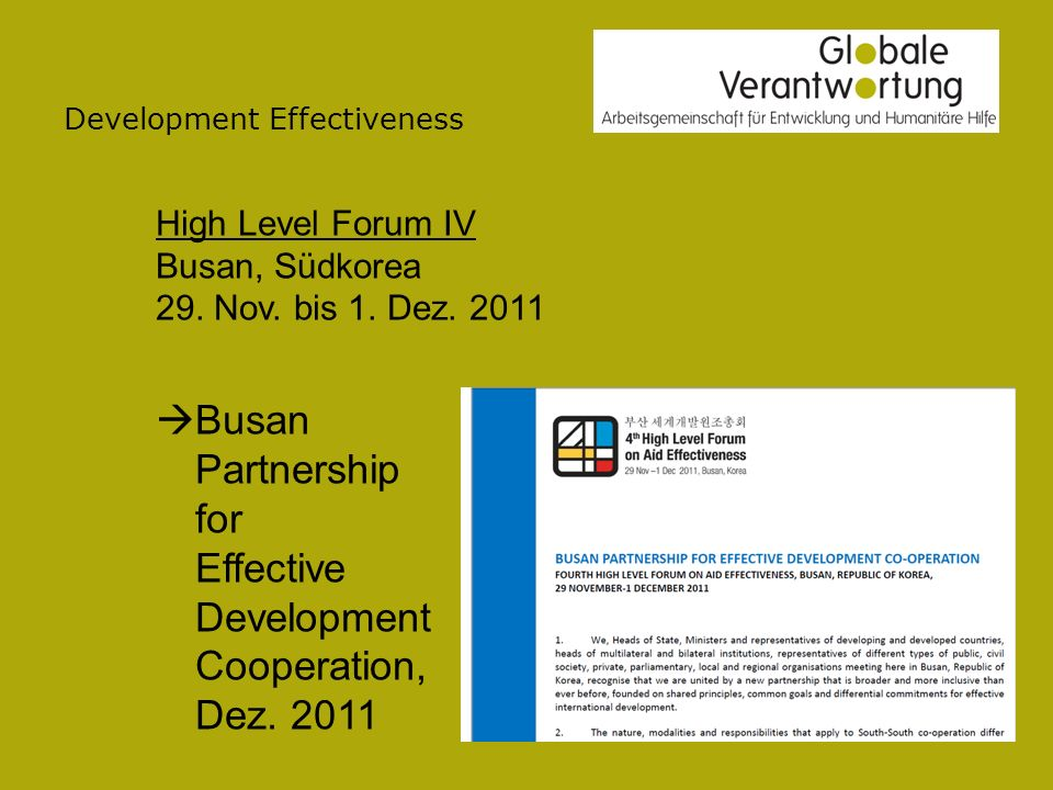 Development Effectiveness High Level Forum IV Busan, Südkorea 29.