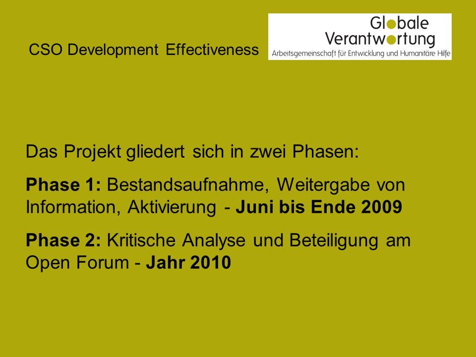 CSO Development Effectiveness Das Projekt gliedert sich in zwei Phasen: Phase 1: Bestandsaufnahme, Weitergabe von Information, Aktivierung - Juni bis Ende 2009 Phase 2: Kritische Analyse und Beteiligung am Open Forum - Jahr 2010
