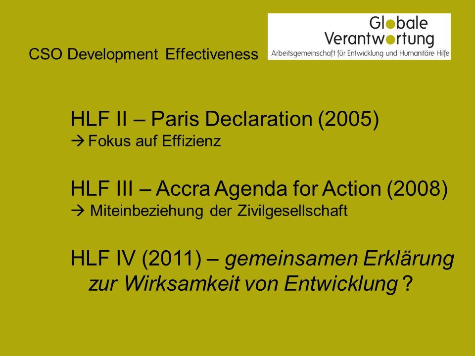 CSO Development Effectiveness Die fünf Prinzipien der Pariser Erklärung Eigenverantwortung Anpassung an die Systeme der Partnerländer Harmonisierung Ergebnisorientiertes Management Beiderseitige Rechenschaftspflicht