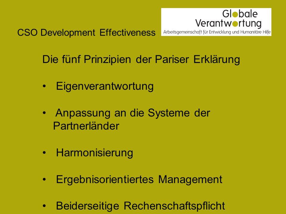 CSO Development Effectiveness Die fünf Prinzipien der Pariser Erklärung Eigenverantwortung Anpassung an die Systeme der Partnerländer Harmonisierung E