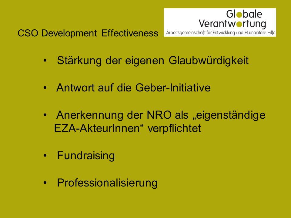 Stärkung der eigenen Glaubwürdigkeit Antwort auf die Geber-Initiative Anerkennung der NRO als eigenständige EZA-AkteurInnen verpflichtet Fundraising Professionalisierung