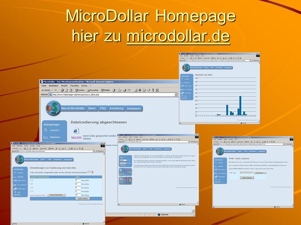 MicroDollar Homepage hier zu microdollar.de microdollar.de