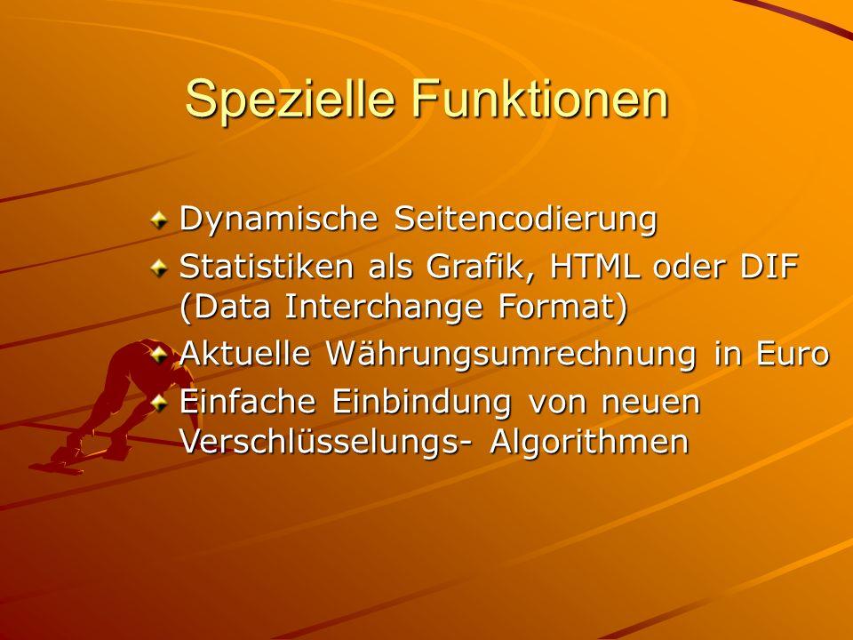 Spezielle Funktionen Dynamische Seitencodierung Statistiken als Grafik, HTML oder DIF (Data Interchange Format) Aktuelle Währungsumrechnung in Euro Ei