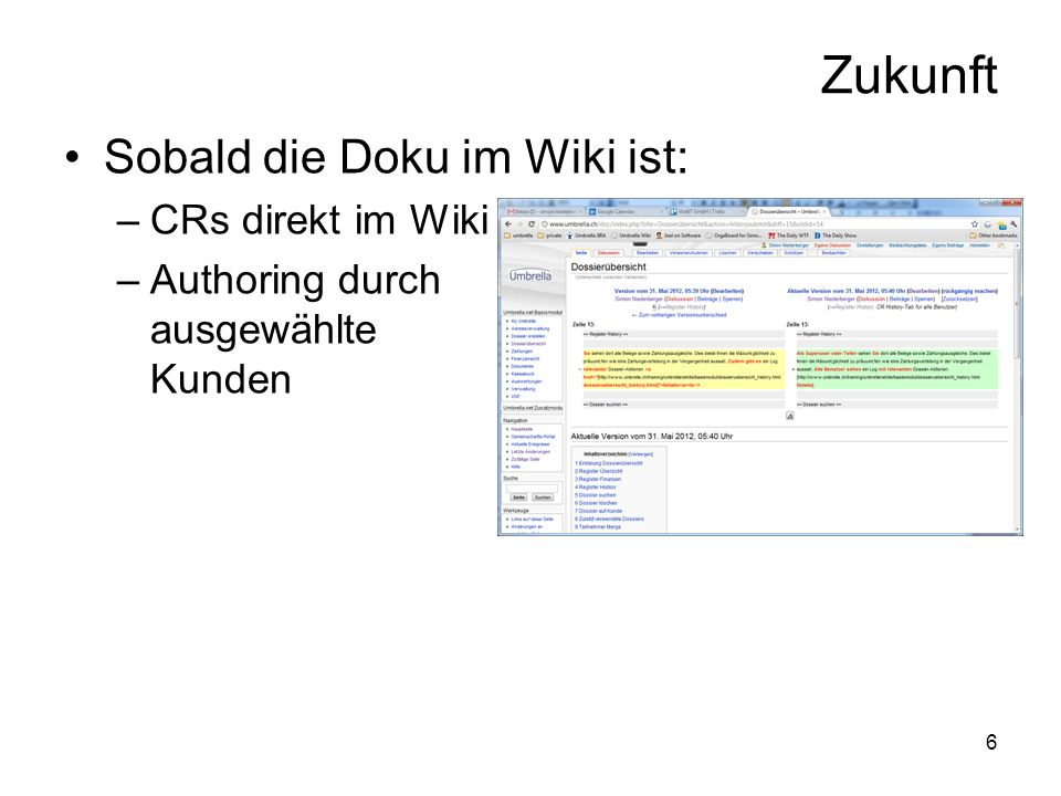 6 Zukunft Sobald die Doku im Wiki ist: –CRs direkt im Wiki –Authoring durch ausgewählte Kunden
