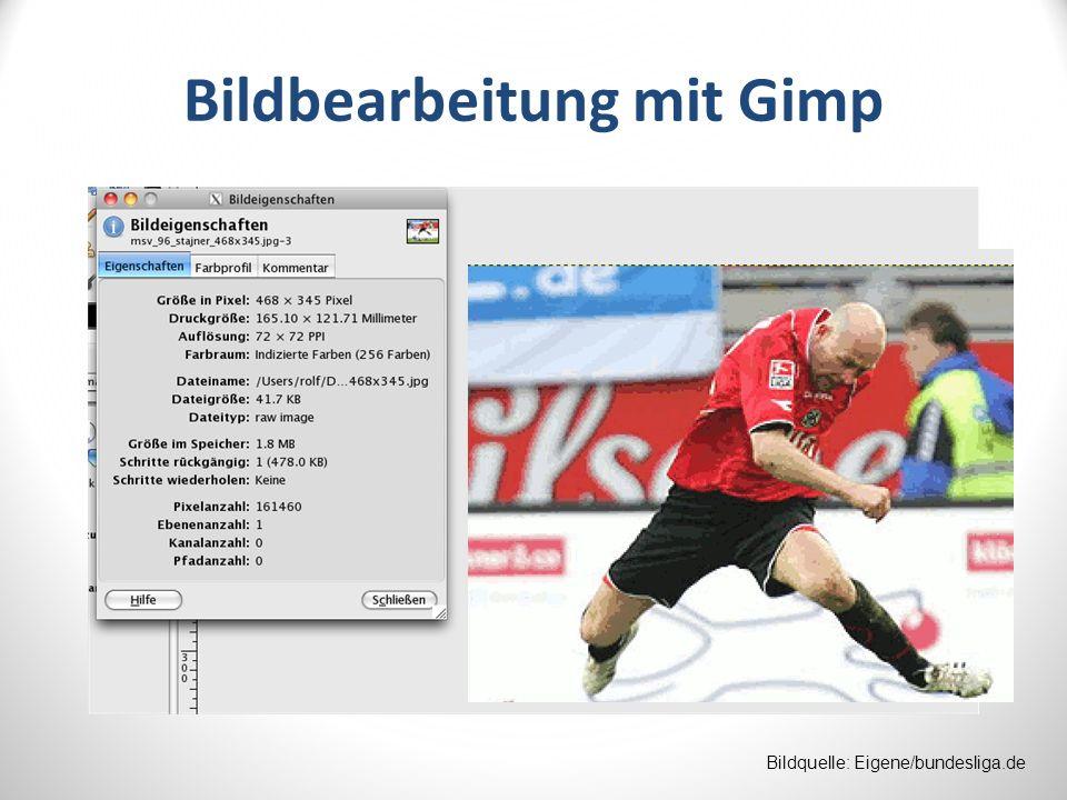 Bildbearbeitung mit Gimp Bildquelle: Eigene/bundesliga.de
