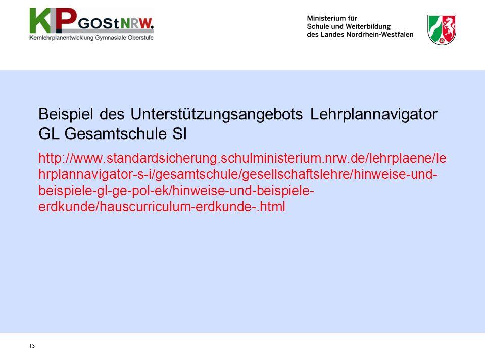 Beispiel des Unterstützungsangebots Lehrplannavigator GL Gesamtschule SI http://www.standardsicherung.schulministerium.nrw.de/lehrplaene/le hrplannavi