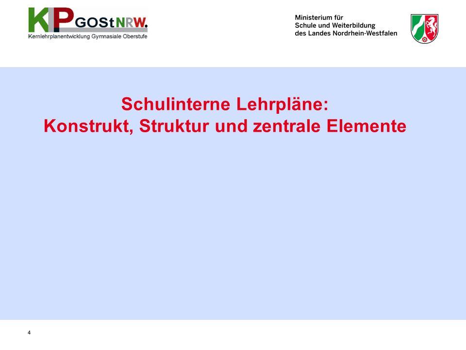 4 Schulinterne Lehrpläne: Konstrukt, Struktur und zentrale Elemente 4