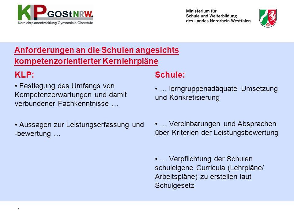 7 Anforderungen an die Schulen angesichts kompetenzorientierter Kernlehrpläne KLP: Festlegung des Umfangs von Kompetenzerwartungen und damit verbunden