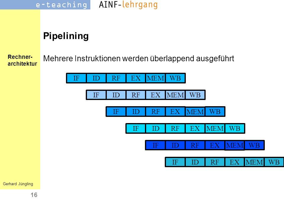 Rechner- architektur Gerhard Jüngling 16 Pipelining Mehrere Instruktionen werden überlappend ausgeführt IDIFEXRF MEM WB IDIFEXRF MEM WB IDIFEXRF MEM W