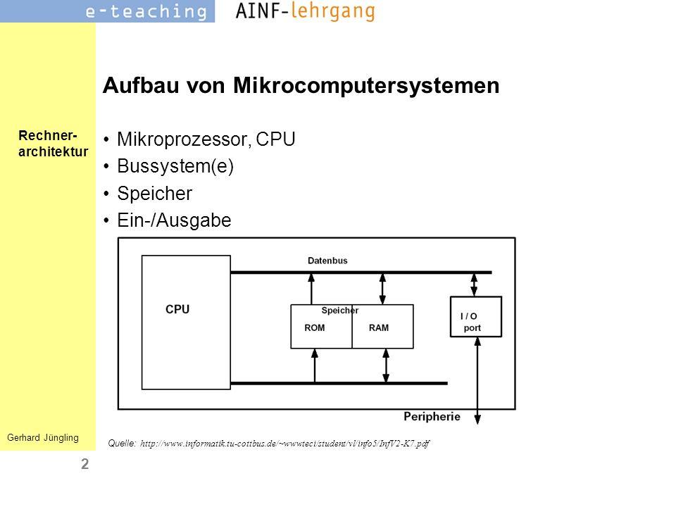 Rechner- architektur Gerhard Jüngling 2 Quelle: http://www.informatik.tu-cottbus.de/~wwwteci/student/vl/info5/InfV2-K7.pdf Aufbau von Mikrocomputersys