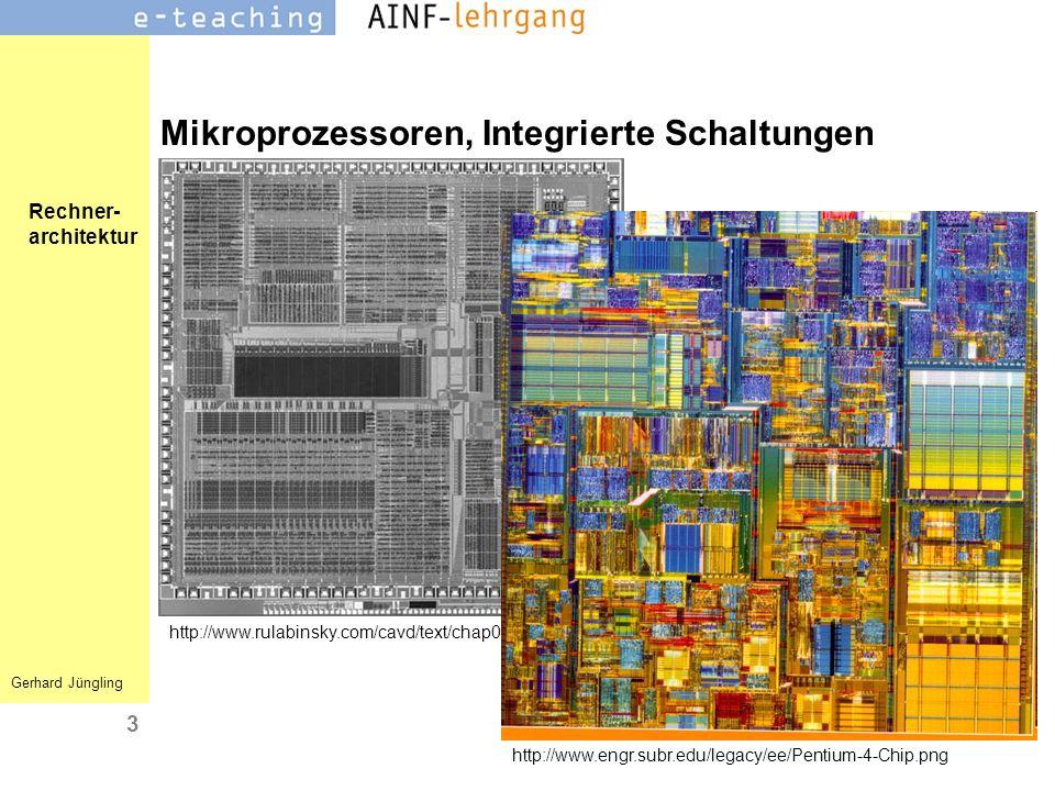 Rechner- architektur Gerhard Jüngling 3 Mikroprozessoren, Integrierte Schaltungen http://www.rulabinsky.com/cavd/text/chap01-1.html http://www.engr.su