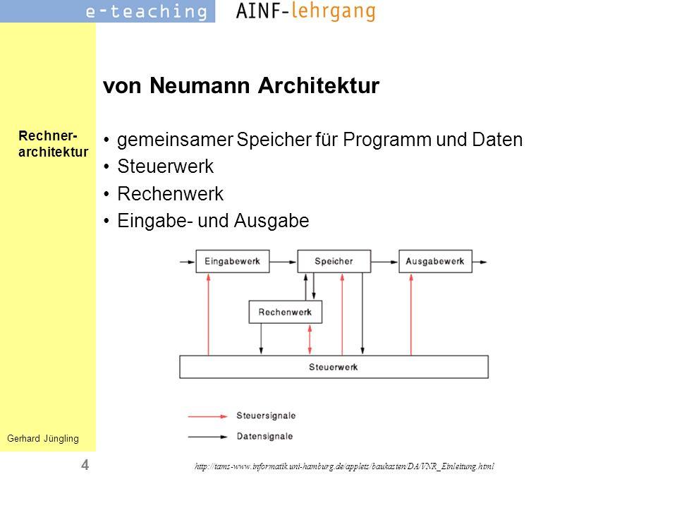 Rechner- architektur Gerhard Jüngling 5 Steuerwerk steuert die die Arbeitsabläufe im Rechner Auswahl der Operation der ALU (Addition, Subtraktion etc.) Buszugriffe der CPU-Komponenten Speicherzugriffe (lesen/schreiben) http://tams-www.informatik.uni-hamburg.de/applets/ baukasten/DA/Komponenten_Steuerwerk.html