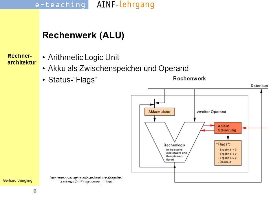 Rechner- architektur Gerhard Jüngling 6 Rechenwerk (ALU) Arithmetic Logic Unit Akku als Zwischenspeicher und Operand Status-Flags http://tams-www.info
