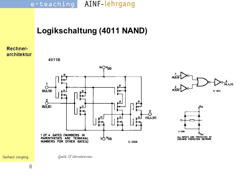 Rechner- architektur Gerhard Jüngling 8 Logikschaltung (4011 NAND) Quelle: ST Microelectronics