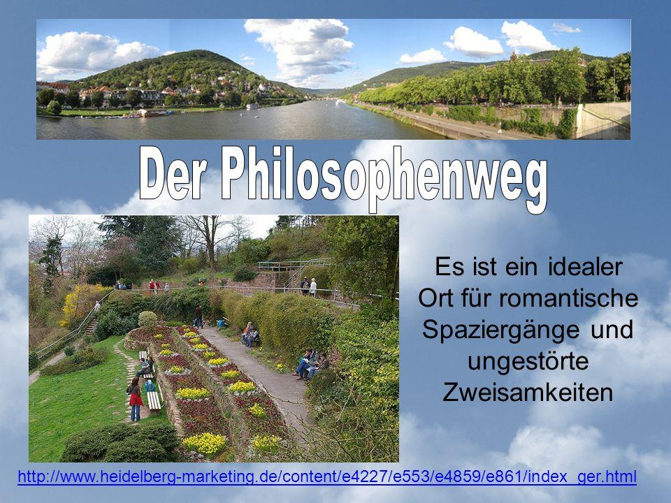 Es ist ein idealer Ort für romantische Spaziergänge und ungestörte Zweisamkeiten http://www.heidelberg-marketing.de/content/e4227/e553/e4859/e861/index_ger.html