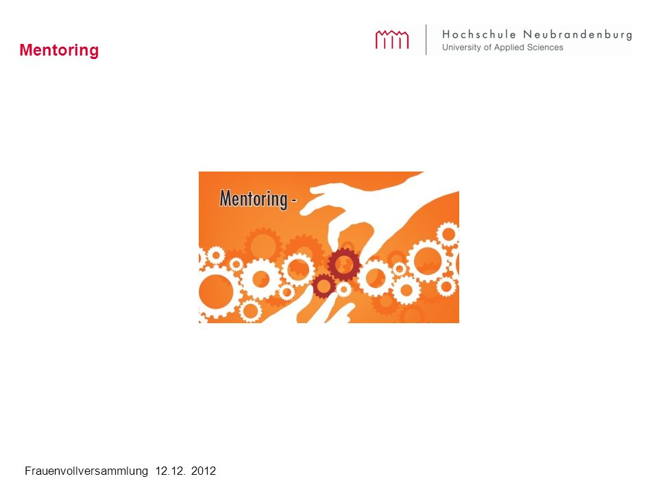 Frauenvollversammlung 12.12. 2012 Mentoring