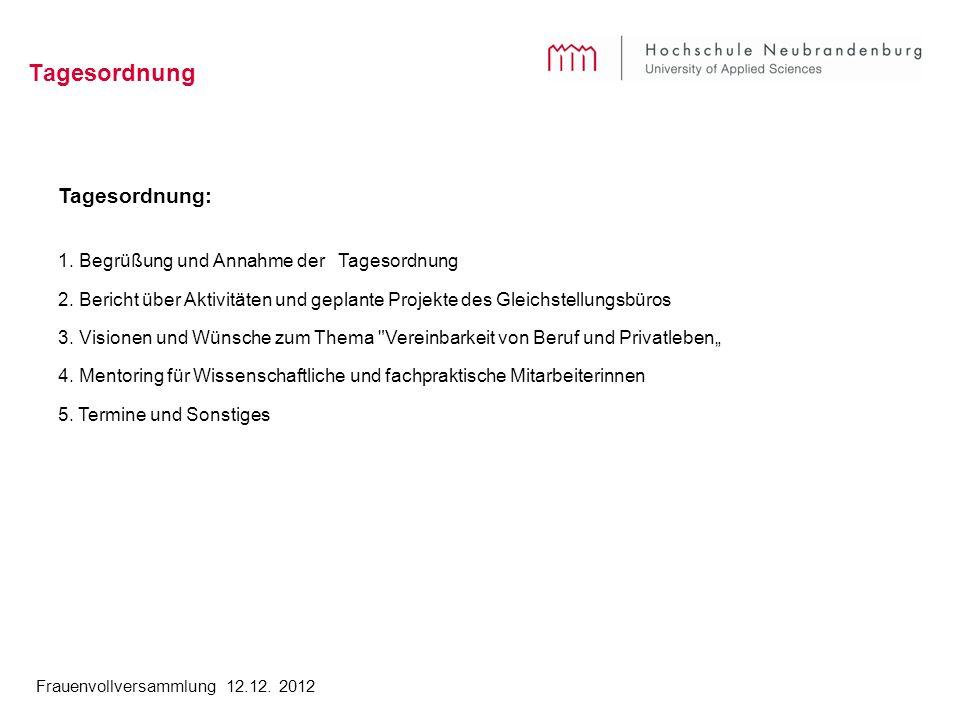 Frauenvollversammlung 12.12. 2012 Tagesordnung Tagesordnung: 1.