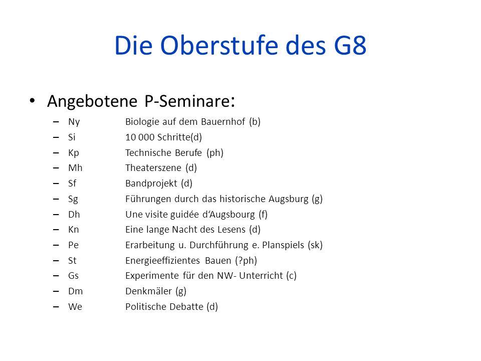 Die Oberstufe des G8 Angebotene P-Seminare : – Ny Biologie auf dem Bauernhof (b) – Si 10 000 Schritte(d) – Kp Technische Berufe (ph) – Mh Theaterszene