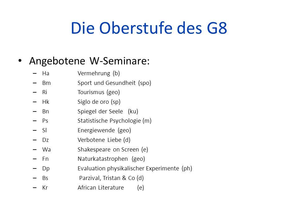 Die Oberstufe des G8 Angebotene W-Seminare: – Ha Vermehrung (b) – BmSport und Gesundheit (spo) – Ri Tourismus (geo) – Hk Siglo de oro (sp) – Bn Spiege