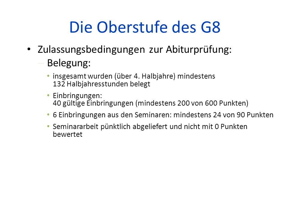 Die Oberstufe des G8 Zulassungsbedingungen zur Abiturprüfung: – Belegung: insgesamt wurden (über 4. Halbjahre) mindestens 132 Halbjahresstunden belegt