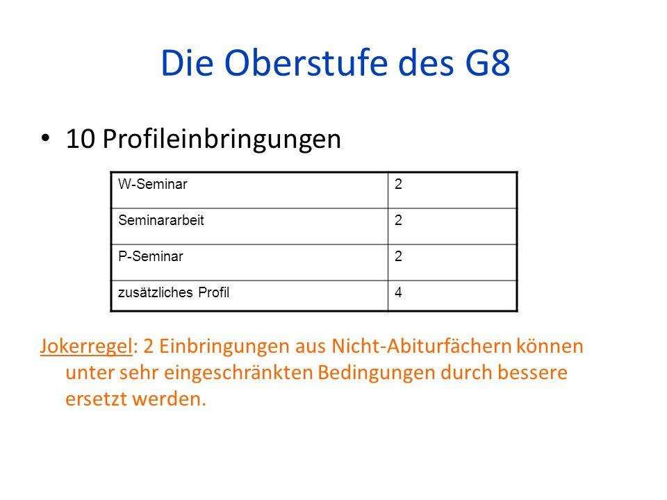 Die Oberstufe des G8 10 Profileinbringungen Jokerregel: 2 Einbringungen aus Nicht-Abiturfächern können unter sehr eingeschränkten Bedingungen durch be