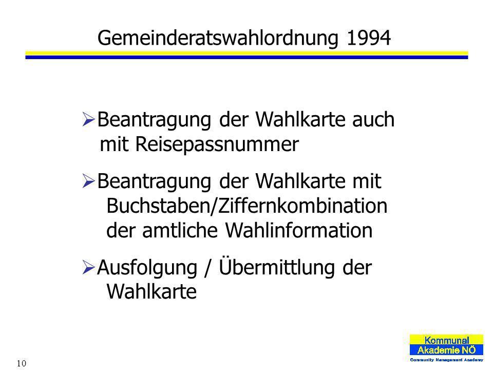 10 Beantragung der Wahlkarte auch mit Reisepassnummer Beantragung der Wahlkarte mit Buchstaben/Ziffernkombination der amtliche Wahlinformation Ausfolgung / Übermittlung der Wahlkarte Gemeinderatswahlordnung 1994