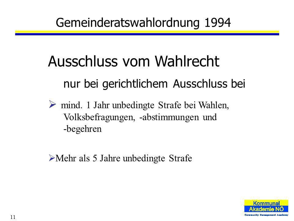 11 Gemeinderatswahlordnung 1994 Ausschluss vom Wahlrecht nur bei gerichtlichem Ausschluss bei mind.