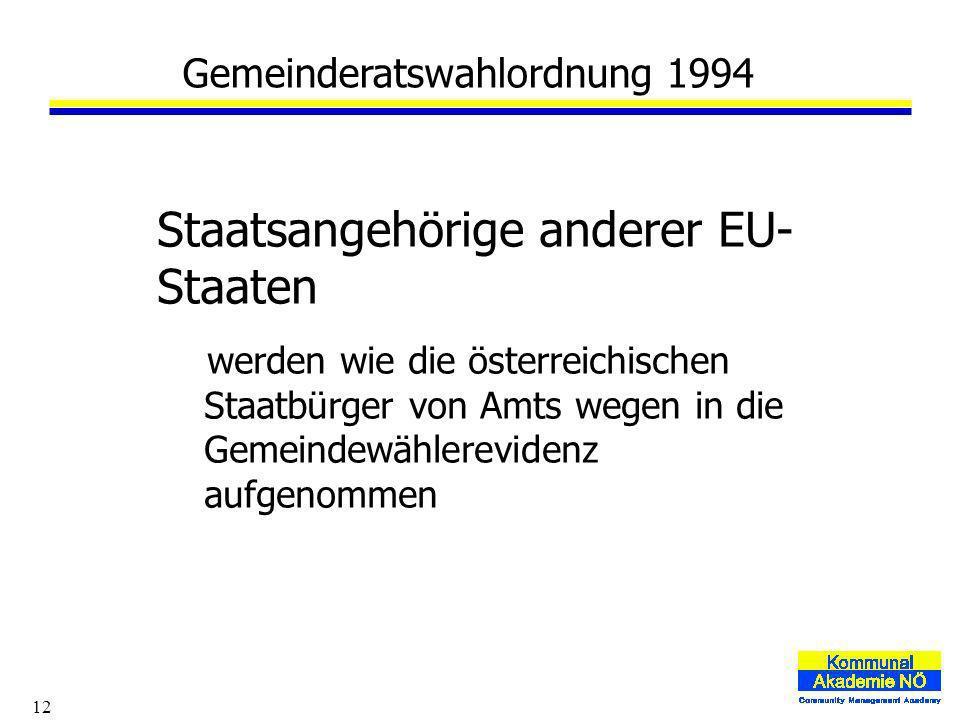 12 Gemeinderatswahlordnung 1994 Staatsangehörige anderer EU- Staaten werden wie die österreichischen Staatbürger von Amts wegen in die Gemeindewählerevidenz aufgenommen