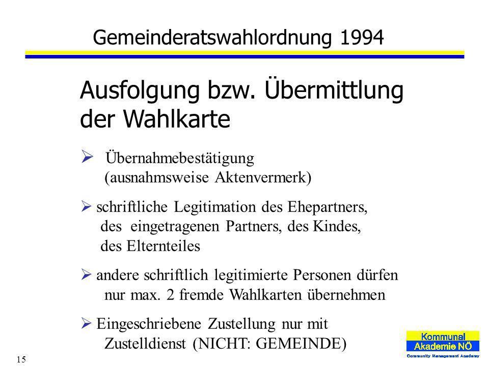 15 Gemeinderatswahlordnung 1994 Ausfolgung bzw.