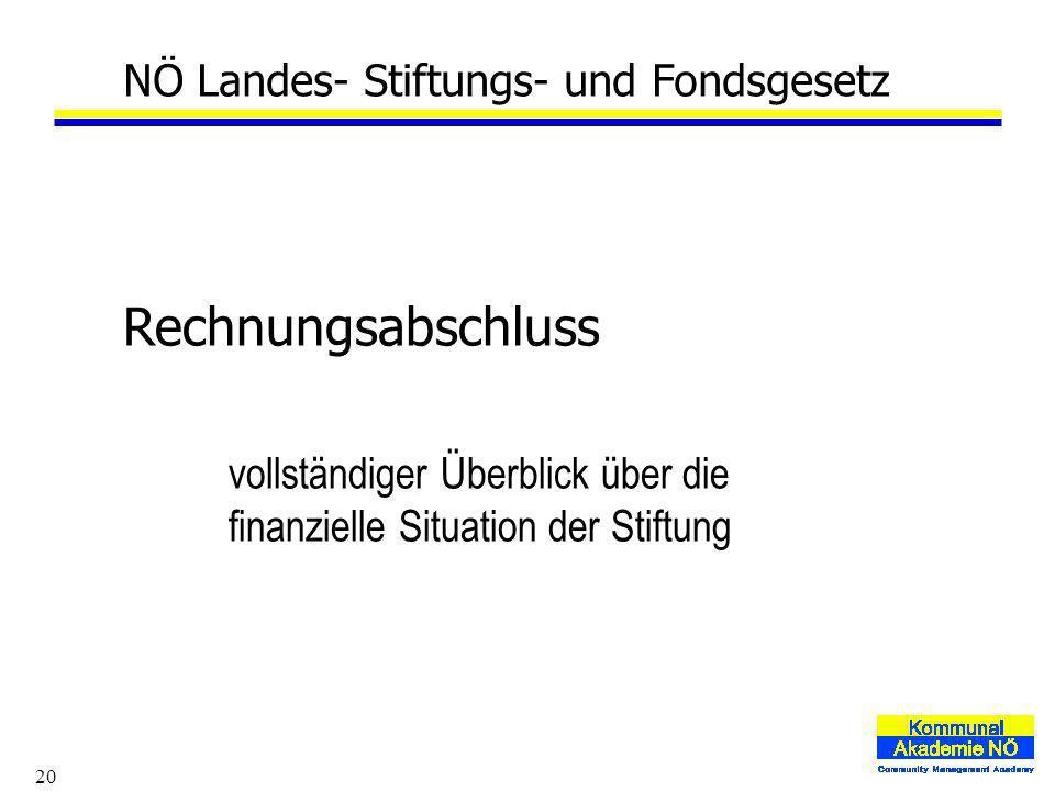 20 NÖ Landes- Stiftungs- und Fondsgesetz Rechnungsabschluss vollständiger Überblick über die finanzielle Situation der Stiftung