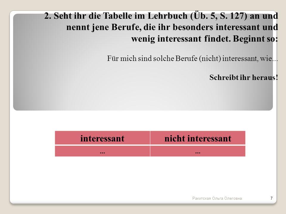 2. Seht ihr die Tabelle im Lehrbuch (Üb. 5, S. 127) an und nennt jene Berufe, die ihr besonders interessant und wenig interessant findet. Beginnt so: