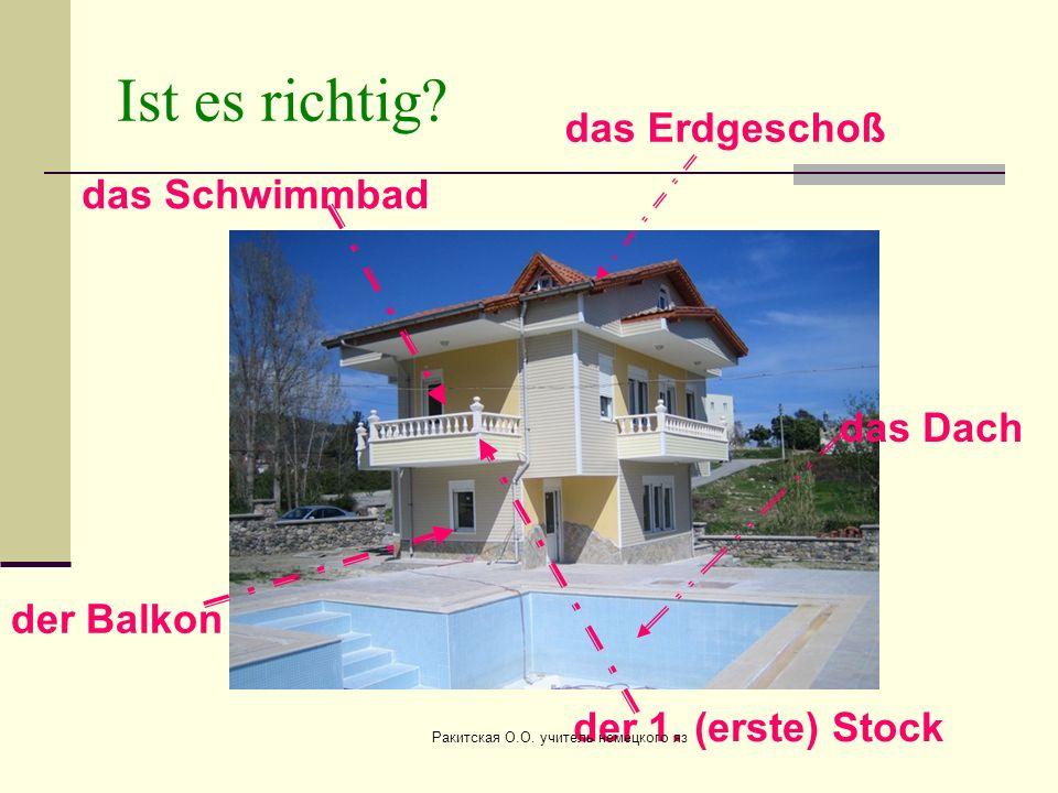 Ist es richtig? der Balkon das Dach der 1. (erste) Stock das Erdgeschoß das Schwimmbad Ракитская О.О. учитель немецкого яз