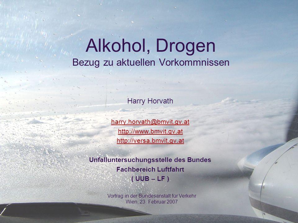 Alkohol, Drogen Bezug zu aktuellen Vorkommnissen Harry Horvath harry.horvath@bmvit.gv.at http://www.bmvit.gv.at http://versa.bmvit.gv.at Unfalluntersu