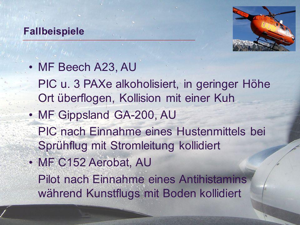 Fallbeispiele MF Beech A23, AU PIC u. 3 PAXe alkoholisiert, in geringer Höhe Ort überflogen, Kollision mit einer Kuh MF Gippsland GA-200, AU PIC nach