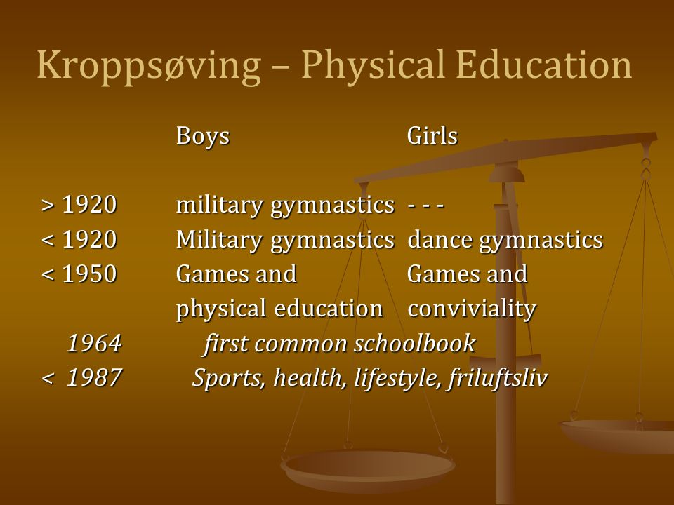 Kroppsøving – Physical Education Boys Girls > 1920military gymnastics - - - < 1920Military gymnastics dance gymnastics < 1950Games and Games and physical education conviviality 1964 first common schoolbook <1987 Sports, health, lifestyle, friluftsliv