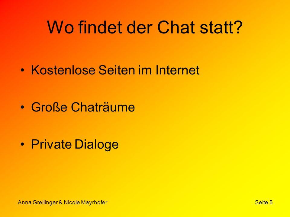 Anna Greilinger & Nicole Mayrhofer Seite 6 Formen Heute werden technisch gesehen hauptsächlich 3 Chatformen unterschieden: –Der Internet Relay Chat –Web Chat –Instant Messaging