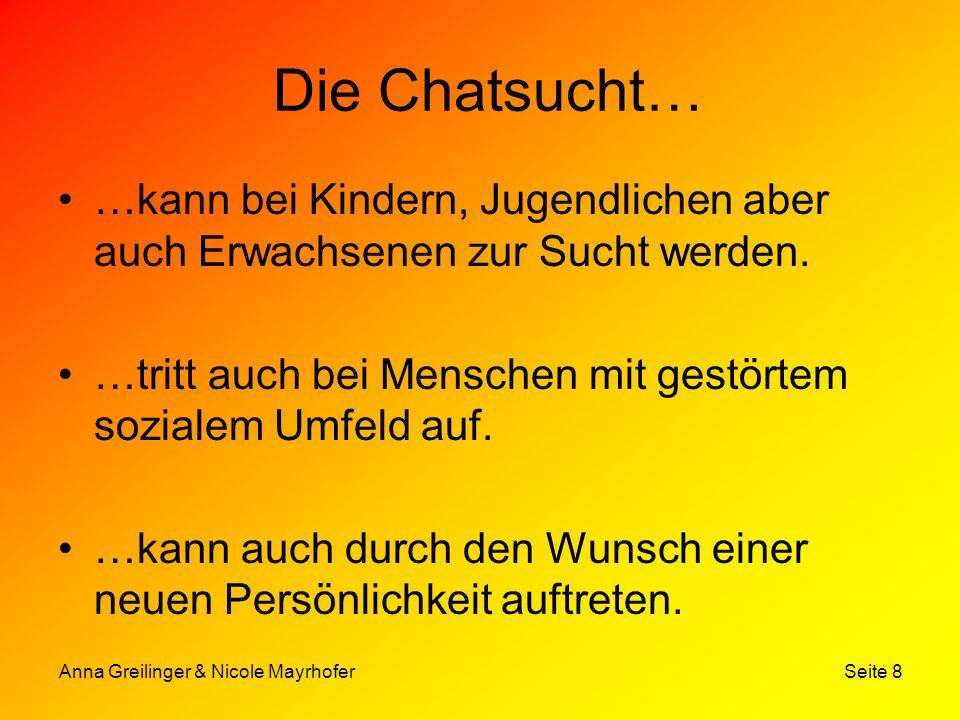 Anna Greilinger & Nicole Mayrhofer Seite 8 Die Chatsucht… …kann bei Kindern, Jugendlichen aber auch Erwachsenen zur Sucht werden. …tritt auch bei Mens