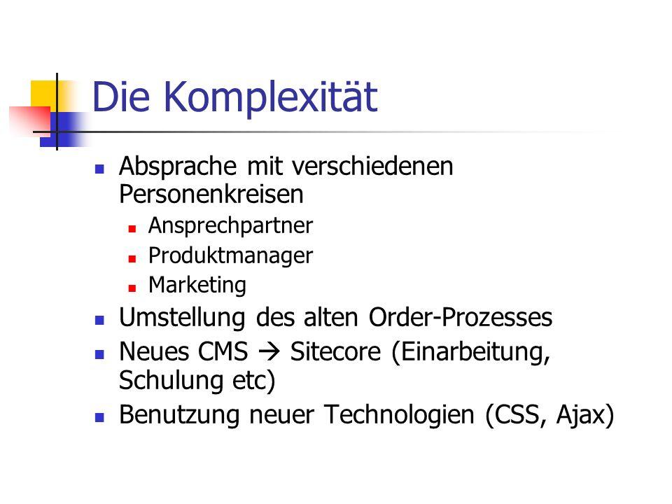 Die Komplexität Absprache mit verschiedenen Personenkreisen Ansprechpartner Produktmanager Marketing Umstellung des alten Order-Prozesses Neues CMS Sitecore (Einarbeitung, Schulung etc) Benutzung neuer Technologien (CSS, Ajax)