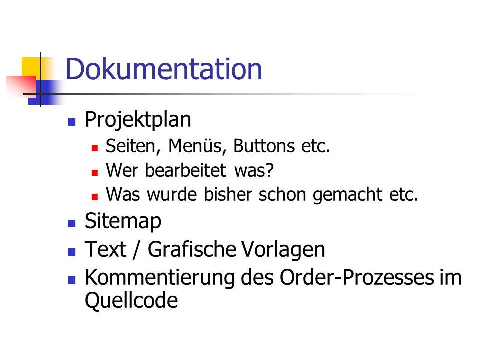 Dokumentation Projektplan Seiten, Menüs, Buttons etc.